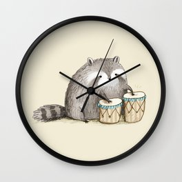 Raccoon on Bongos Wall Clock