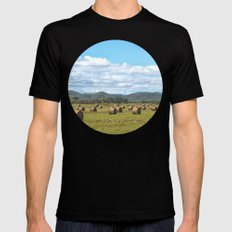 Hay bales on a sunny day MEDIUM Black Mens Fitted Tee