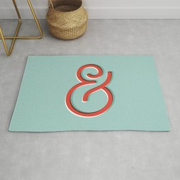 Ampersand red white and green and symbol typography design minimalist home decor wall decor Rug