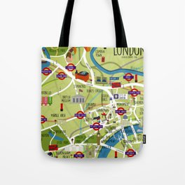 London map illustrated Tote Bag