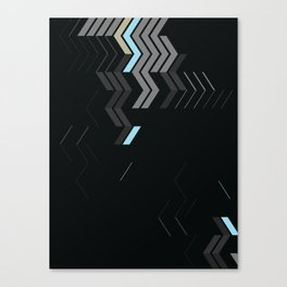 Deconstructed Chevron C – Gray / Gold / Blue Abstract Pattern Canvas Print