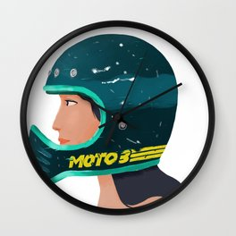 Girl on Helmet Wall Clock