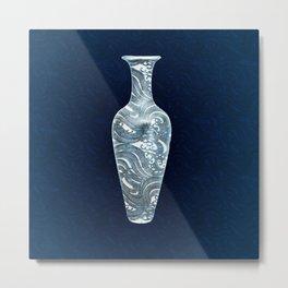 Chinese Vase in Flow Metal Print