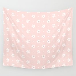 Vintage pastel coral white abstract floral pattern Wall Tapestry