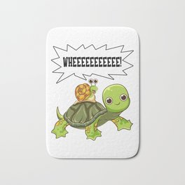 Cute & Funny Snail Riding on Turtle Yelling Whee Bath Mat