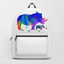 Rainbow Rhino mom and baby Backpack
