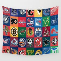hockey Wall Tapestries featuring Hockey Logos by RickART