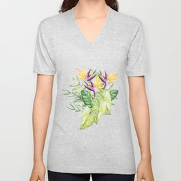 Watercolour Bird-of-Paradise Flowers and Leaves Pattern Unisex V-Neck