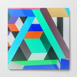 Teal Geometric Artwork - Abstract Pattern Metal Print
