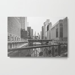 Chicago River Black and White Metal Print