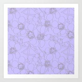 Australian Waxflower Line Floral in Lilac Art Print