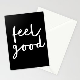 Feel Good black and white contemporary minimalism typography design home wall decor bedroom Stationery Cards