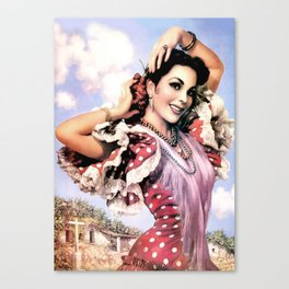 Jesus Helguera Painting of a Delightful Mexican Calendar Girl Canvas Print