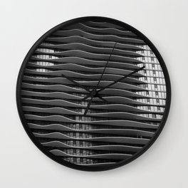 Wavy/Aqua Building Photo, Chicago, Architecture, Black and White Wall Clock