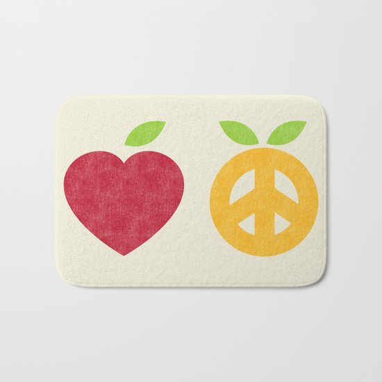 Apple and Orange - Love and Peace Bath Mat
