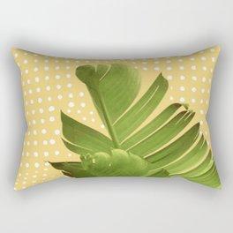 Tropical Polka Dot Banana Leaves Rectangular Pillow