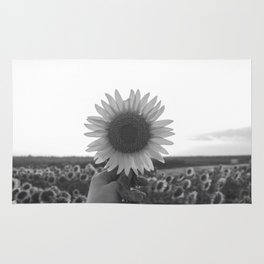 Her Sunflower (Black and White) Rug