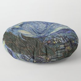 The Starry Night by Vincent van Gogh 1889 // Abstract Brush Stroke Detail Mountains Stars City Scene Floor Pillow