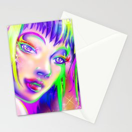 rainbow colorful girl Stationery Cards