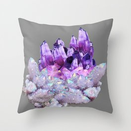 SPARKLY WHITE QUARTZ & PURPLE AMETHYST CRYSTAL Throw Pillow