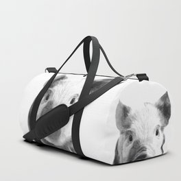 Black and white pig portrait Duffle Bag