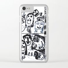 Funny Face   Pop Art   Black and White Clear iPhone Case