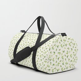 Modern green ivory watercolor hand painted leaves Duffle Bag
