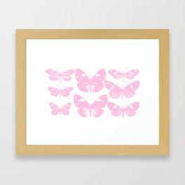 Vintage Butterfly Illustration in Pink Framed Art Print
