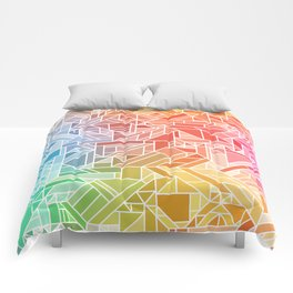 BRIGHT VIBRANT GRADIENT GEOMETRIC SHAPES RAINBOW PRINT TILED MOSAIC TIE DYE COLORFUL Comforters