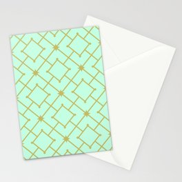 Pastel Mint Stars and Squares Lattice Stationery Cards