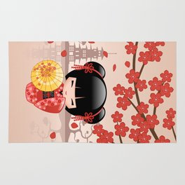 Japanese Red Sakura Kokeshi Doll Rug
