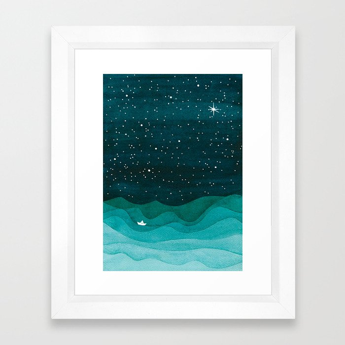 Starry Ocean, teal sailboat watercolor sea waves night Framed Art Print