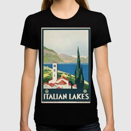 ENIT Italian Lakes Vintage Travel Poster T-shirt