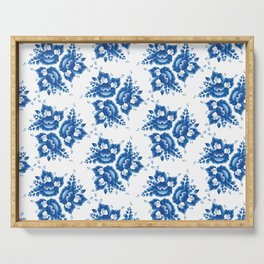 Vintage shabby Chic Seamless pattern with blue flowers and leaves. Vector Serving Tray