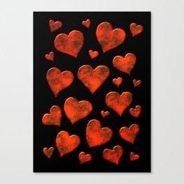 Rusty Red Metallic Hearts Pattern Canvas Print