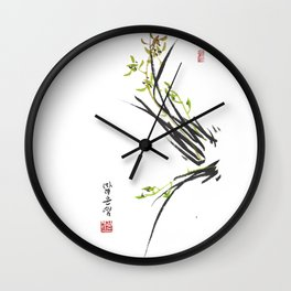Green Wild Orchid Two Wall Clock