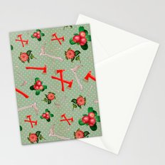 Crimson Flowers & Fibulas Stationery Cards
