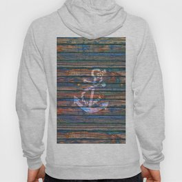 Nautical blue pink watercolor rustic wood white anchor Hoody