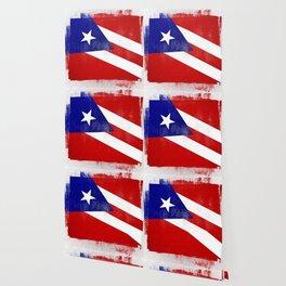 Puerto Rican Distressed Halftone Denim Flag Wallpaper