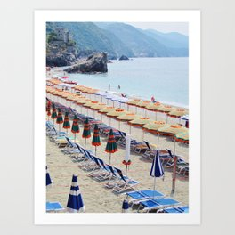 Cinque Terre beach parasols Art Print