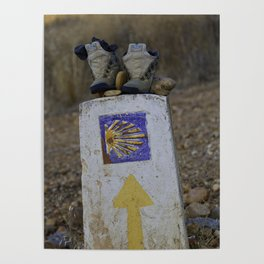 Camino Route Marker and Old Boots Poster