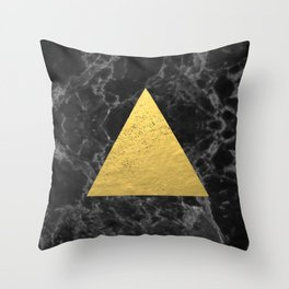 Black Gold Marble Tri - dark solid classic gold foil on marble cell phone case for college dorm  Throw Pillow