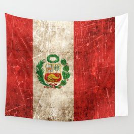 Vintage Aged and Scratched Peruvian Flag Wall Tapestry