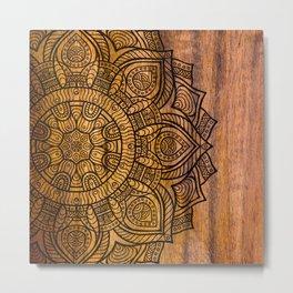 Mandala on Wood Metal Print