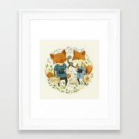 card Framed Art Prints featuring Fox Friends by Teagan White