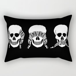 Three wise skulls, see, hear, speak no evil Rectangular Pillow