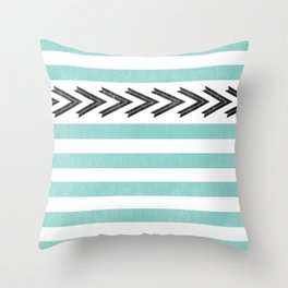 ARROW STRIPE {TEAL} Throw Pillow
