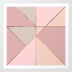 Modern rose gold peach blush pink color block Art Print