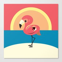 flamingo Canvas Prints featuring Flamingo by Steph Dillon