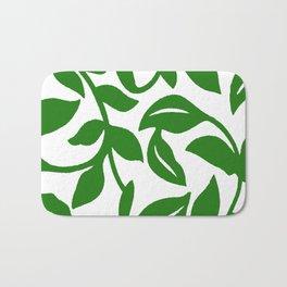 PALM LEAF VINE SWIRL IN GREEN AND WHITE Bath Mat